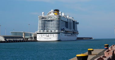 The Costa Smeralda cruise ship is docked in the Civitavecchia port near Rome, Thursday, Jan. 30, 2020.