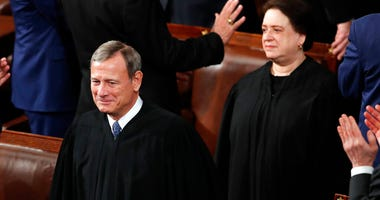 Chief Justice of the United States John Roberts and Supreme Court Associate Justice Elena Kagan arrive before President Donald Trump delivers his State of the Union address to a joint session of Congress on Capitol Hill in Washington, Tuesday, Feb. 4, 202