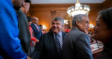 AFL-CIO President Richard Trumka, center, and House Education and the Workforce Committee Chair Bobby Scott, D-Va., arrive for a news conference with Speaker of the House Nancy Pelosi, D-Calif., about the Protecting the Right to Organize (PRO) Act at the