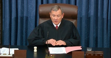 In this image from video, Chief Justice of the United States John Roberts speaks before the vote in the impeachment trial against President Donald Trump in the Senate at the U.S. Capitol in Washington, Wednesday, Feb. 5, 2020.