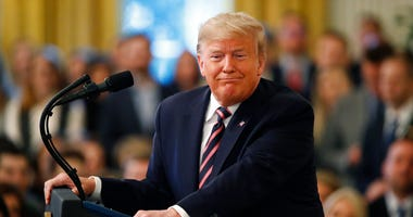 President Donald Trump pauses as he speaks in the East Room of the White House in Washington, Thursday, Feb. 6, 2020.
