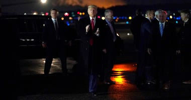 President Donald Trump arrives at Manchester-Boston Regional Airport for a campaign rally, Monday, Feb. 10, 2020, in Manchester, N.H.