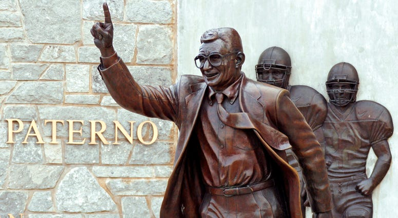 the statue of former Penn State University head football coach Joe Paterno outside Beaver Stadium.