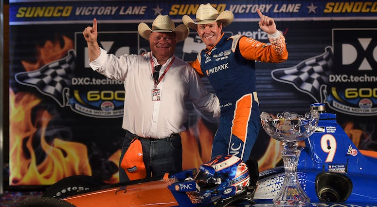 Chip Ganassi And Scott Dixon Celebrate In Victory Lane At Texas Motor Speedway