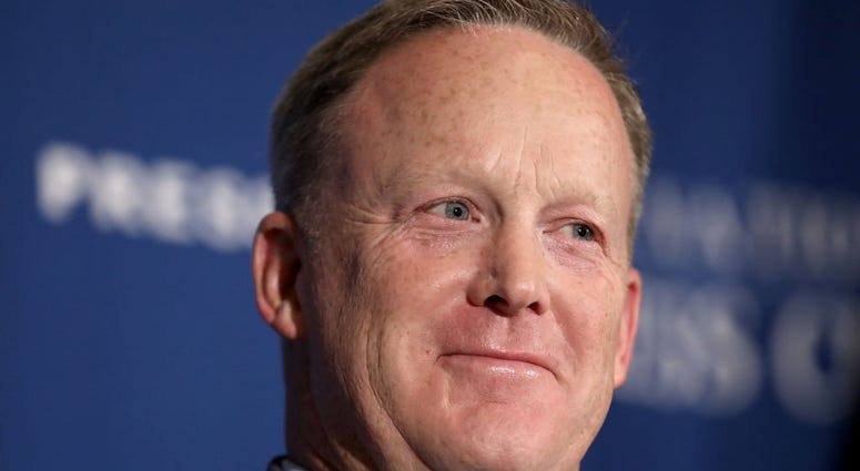 """WASHINGTON, DC - AUGUST 13: Former White House Press Secretary Sean Spicer answers questions during an appearance at the National Press Club August 13, 2018 in Washington, DC. Spicer is promoting his new book """"The Briefing:"""