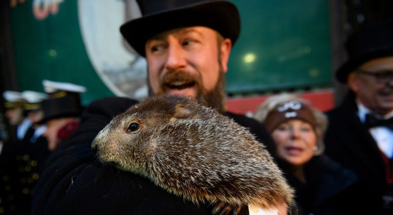AJ Dereume holds Punxsutawney Phil after he did not see his shadow predicting an early spring during the 133rd annual Groundhog Day festivities on February 2, 2019 in Punxsutawney,