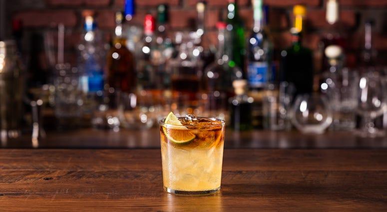 Mixed drink at a bar