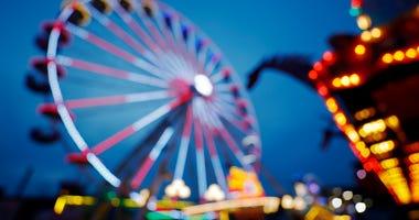 Amusement rides at a fair