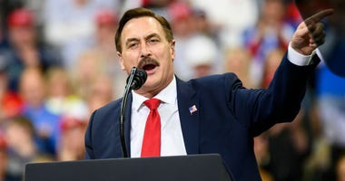 Mike Lindell, CEO of My Pillow, speaks during a campaign rally held by U.S. President Donald Trump