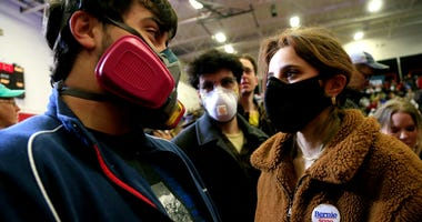 College students wearing filtration masks to prevent spread of COVID-19/coronavirus