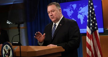 U.S. Secretary of State Mike Pompeo speaks during a news briefing about the Coronavirus outbreak