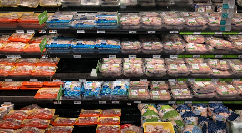 A view of the chicken and meat section at a grocery store