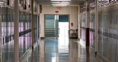A high schools empty hallway because school is closed due to the caronavirus in March 2020