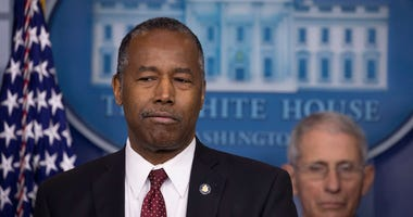 U.S. Housing and Urban Development Secretary Ben Carson speaks during a briefing in the James Brady Press Briefing Room at the White House on March 21, 2020