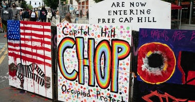"A signs reads ""Capitol Hill Occupied Protest"" in area that has been referred to by protesters by that name as well as ""Capitol Hill Organized Protest, or CHOP, on June 14, 2020 in Seattle, Washington."