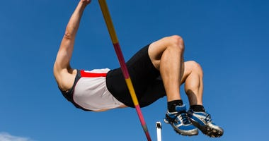 Athlete in high jump in track and field