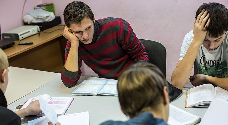 Teenagers working on homework