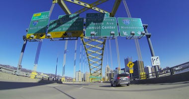 A view of Pittsburgh as you emerge from the Fort Pitt Tunnels