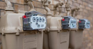Close up of gas meters for a Multi-Family