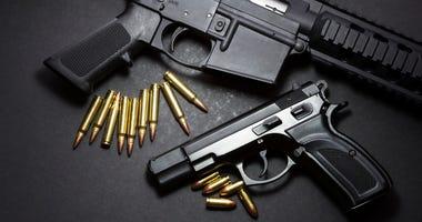 9mm handgun with ar15 rifle and ammunition
