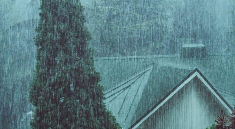 House in Rain Storm