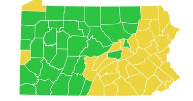 June 5 coronavirus reopening map of PA
