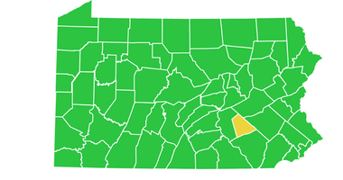 map of Pennsylvania as of June 26, 2020