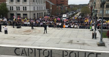 Protesters in Harrisburg protest the continued shutdown of businesses in PA
