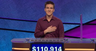"""James Holzhauer after a record-setting win on """"Jeopardy!"""" in the episode from April 9, 2019."""