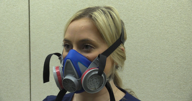AHN employee wearing an MSA mask