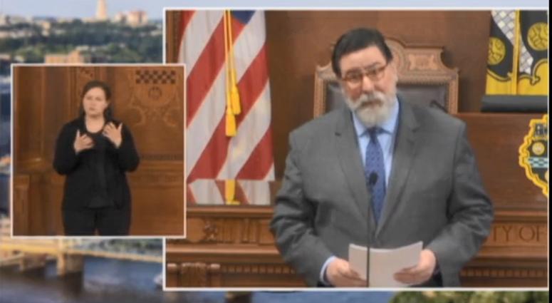 Pittsburgh Mayor Bill Peduto addresses the city of Pittsburgh during coronavirus pandemic