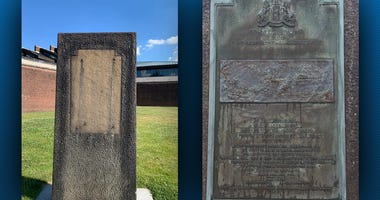 Plaque removed outside the Ft. Pitt museum