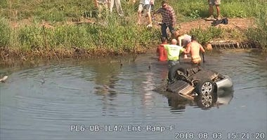 Police Thank Good Samaritans For Rescuing Woman From Overturned Car In Pond
