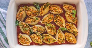 Vegan Pumpkin Kale Stuffed Shells