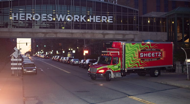 Sheetz truck delivering supplies at a local hospital.