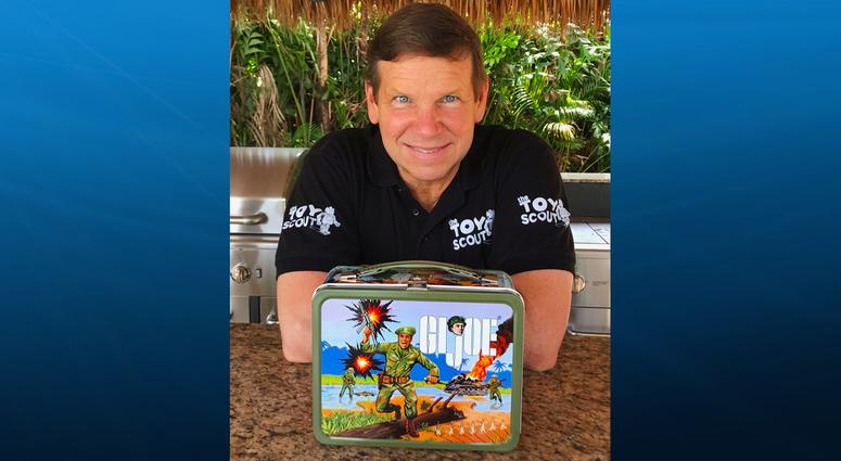 Joel Magee holding G.I. Joe Lunch Box