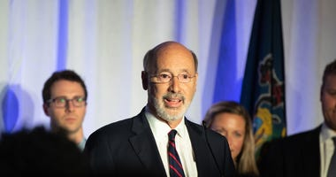 Governor Tom Wolf delivers his victory speech at the Election Night Party