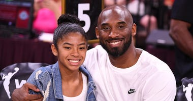 Kobe Bryant is pictured with his daughter Gianna at the WNBA All Star Game at Mandalay Bay Events Center.