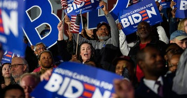 Supporters of democratic presidential candidate Joe Biden cheer during a rally in Columbia after his victory in the South Carolina primary Saturday, Feb. 29, 2020. Jm Biden 022920 033