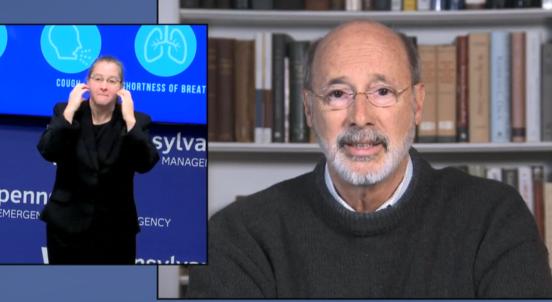 Tom Wolf speaks during a coronavirus briefing on April 1, 2020
