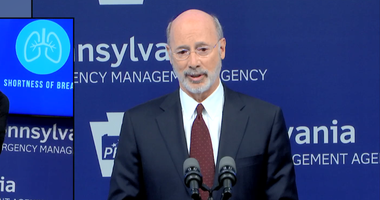 Governor Tom Wolf during a briefing on Monday April 6, 2020