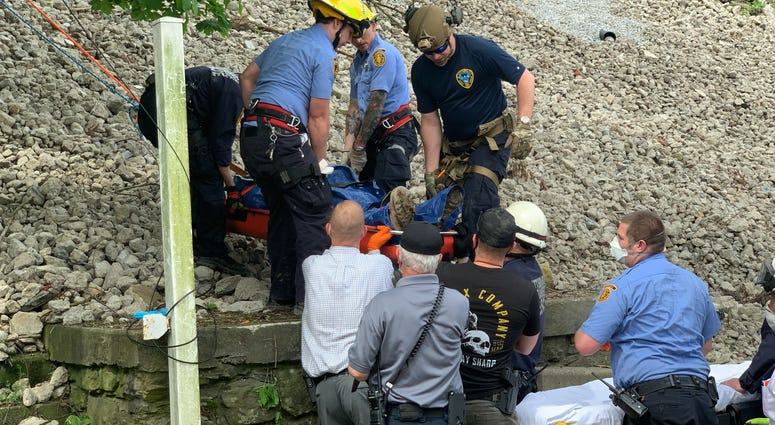 Pittsburgh Public Safety help man who fell down a hill