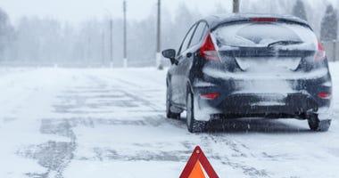 Broken down car in winter