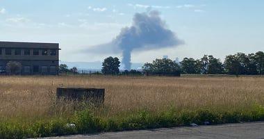 Fire near McKees Rocks seen from Kennedy Township