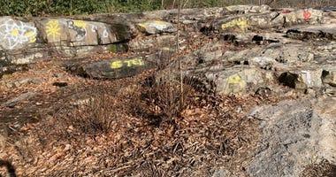 Spray paint on rocks at Ohiopyle