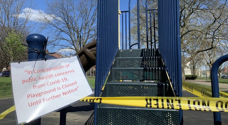 City of Pittsburgh Playground taped off during coronavirus outbreak
