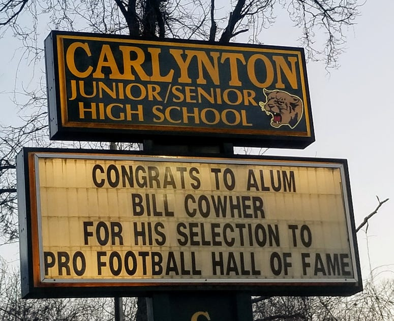 Sign for Cowher at Carlynton High School