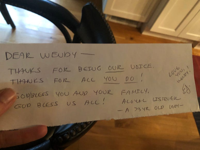Note to Wendy Bell from Listener