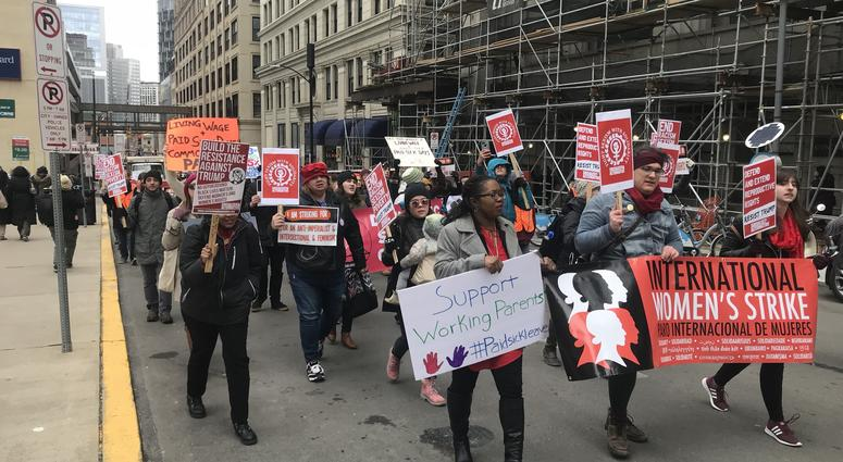 Women march in Pittsburgh for paid sick leave.