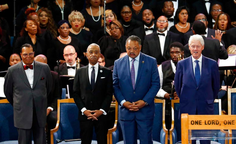 Louis Farrakhan, from left, Rev. Al Sharpton, Rev. Jesse Jackson and former President Bill Clinton attend the funeral service for Aretha Franklin
